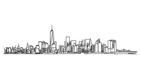 New York Panorama Outline Animation Hand Drawn Sketch Build Up and Down