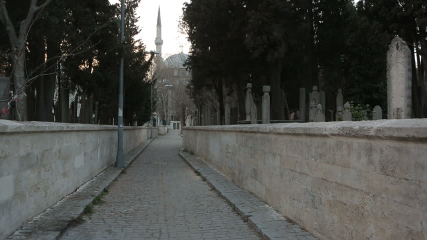 Graveyard and the narrow streets of the city