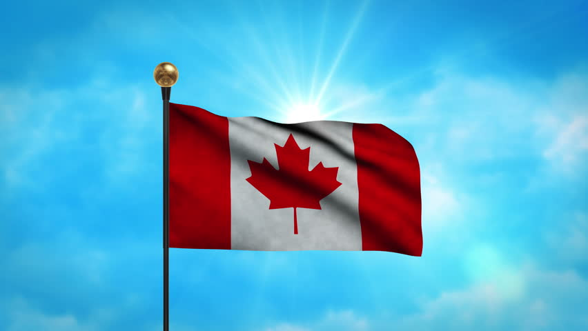 Slow Motion Canadian Flag Blowing In The Wind. Stock ...