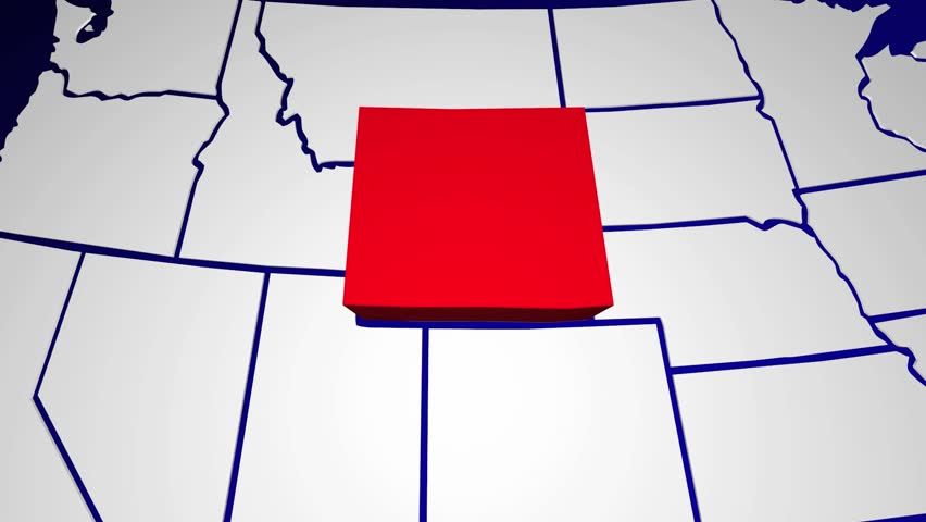 Wyoming WY United States of America 3d Animated State Map on