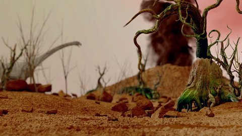 Prehistoric Jungle, landscape, valley with Dinosaurs. Realistic animation and motion