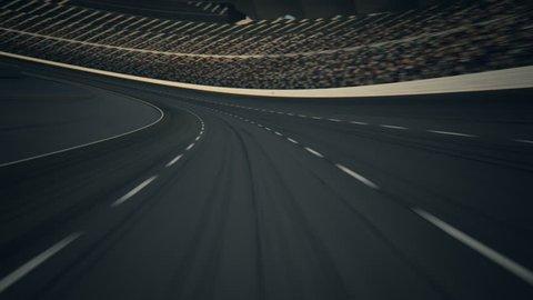 02560 Race Car Speeding Along The Curve Racetrack