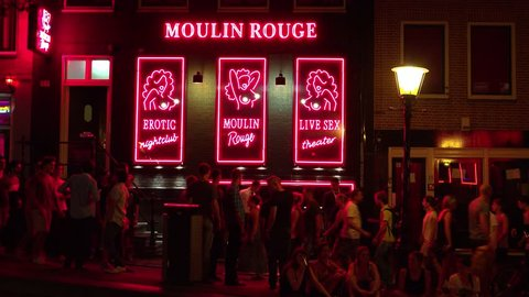 Moulin Rouge at Red Light district Amsterdam - AMSTERDAM / NETHERLANDS JULY 3, 2014