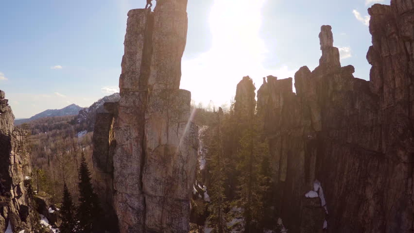 Climber Helps Another Climb to the Top,aerial Photography   Shutterstock HD Video #15244117