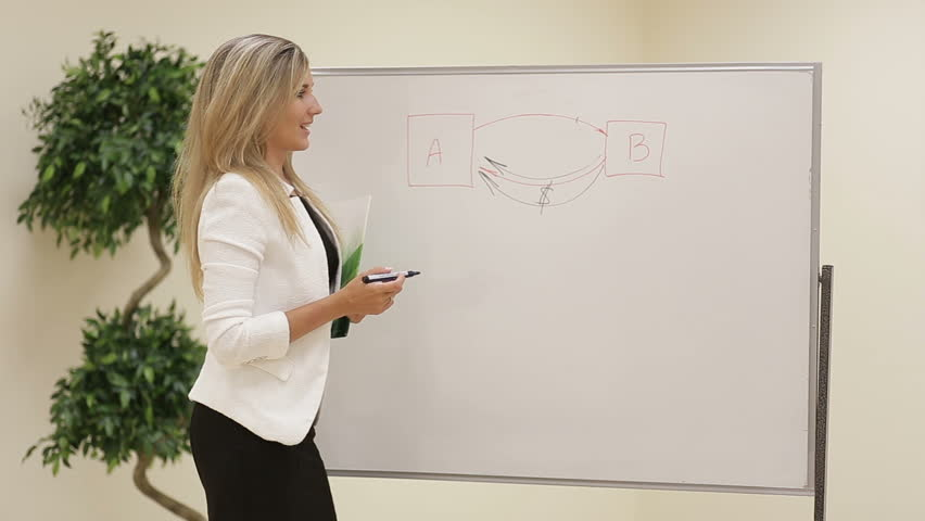 Smiling motivated female business trainer writing notes on a whiteboard   Shutterstock HD Video #15254116