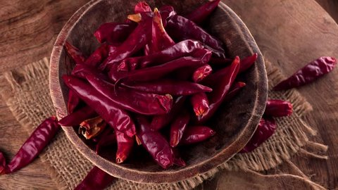 Portion of dried Chillis as seamless loopable 4K UHD footage