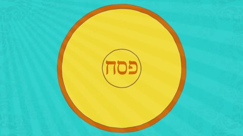 Passover animation with seder elements. Happy Passover greeting at the end.