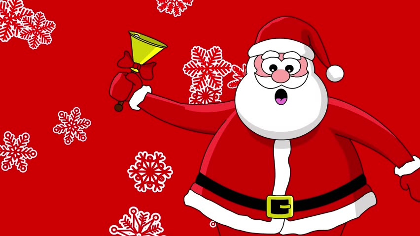 funny santa claus with bell and different sort of snowflakes red background stock footage video 1530818 shutterstock - Santa Claus Red