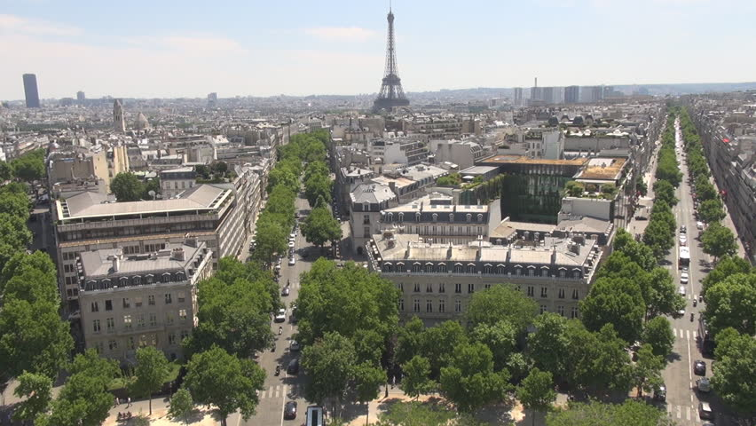 PARIS FRANCE - 1 August 2015 Aerial Paris shot, cars traffic boulevard Champs Elysees Eiffel Tower background | Shutterstock HD Video #15318028