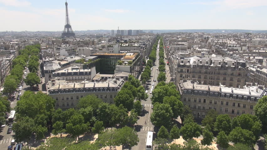 PARIS FRANCE - 1 August 2015 Aerials in Paris, Eiffel Tower architecture city from high level Parisian beauty | Shutterstock HD Video #15318058