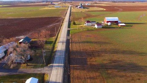 Aerial View of America's Heartland, Rural Wisconsin Farm Fields, Springtime