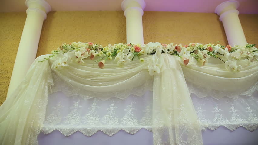 Wedding decorations with flowerserior of a wedding hall beautiful room for ceremonies and weddingsding conceptxury stylish wedding reception purple decorations stock footage video 15379768 shutterstock junglespirit Gallery