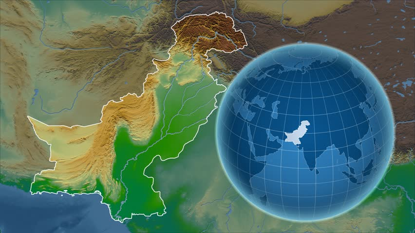 Pakistan shape animated on the admin map of the globe stock pakistan shape animated on the physical map of the globe 4k stock footage clip gumiabroncs Image collections