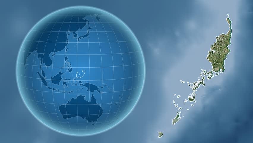 Palau Shape Animated On The Physical Map Of The Globe Stock