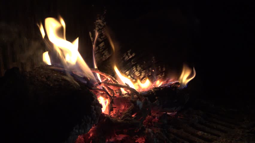 4k, Fireplace With A Hot Roaring Fire And Red Coals. Burning Wood ...