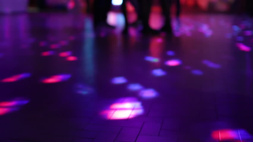 Fancy Club Light Effects In A Dark Background Stock: People Dance At A Party, Perspective To Ground And Few