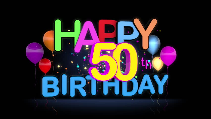 Happy 50th Birthday Title seamless looping Animation for Presentation with dark Background.