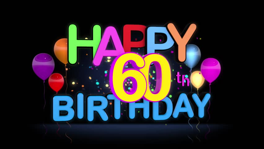 Happy 60th Birthday Title seamless looping Animation for Presentation with dark Background.