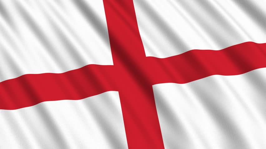 Flag Of England Waving In Stockvideos Filmmaterial 100