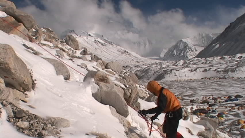 Climber climbing above Everest base camp