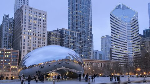 Tourist Attraction Chicago Bean During a Early Spring Sunset Timelapse 4K UHD Ultra High Definition