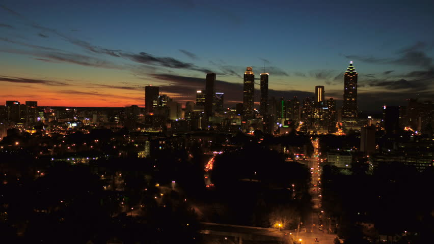 Atlanta Aerial v132 Flying low towards downtown at dusk night.