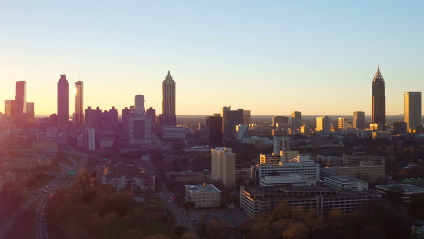 Atlanta Aerial v177 Flying low over Inman Park area panning with cityscape sunset views.
