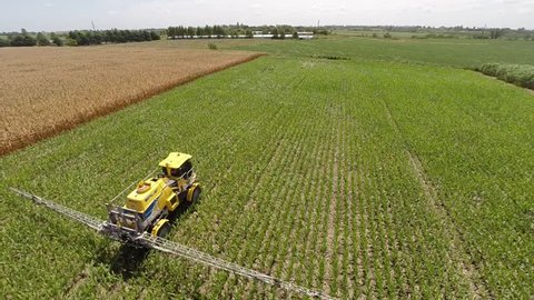 Agricultural Sprayer in Argentina. Drone Aerial Image