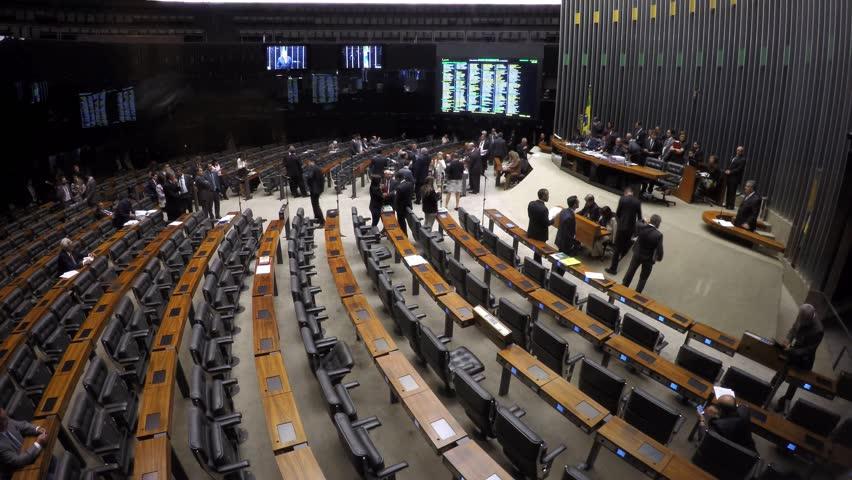 BRASILIA, BRAZIL. CIRCA FEBRUARY, 2016. Front view in time lapse of the Plenary Chamber of Deputies (Chamber Floor), in Brasilia, capital of Brazil.