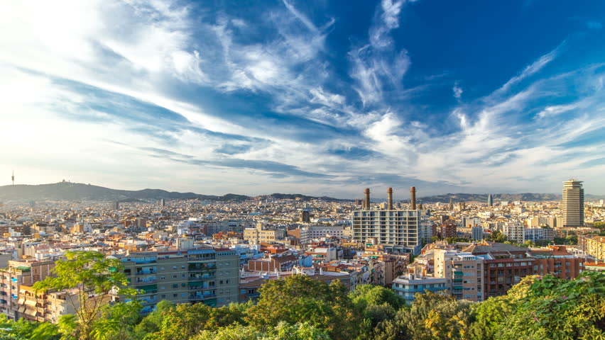 Panorama view of Barcelona city from Montjuic timelapse in cloudy day. Catalonia,  Spain | Shutterstock HD Video #15509908
