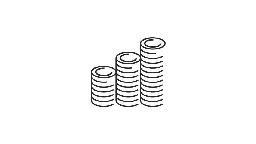 animation modern thin line flat design of icons set. Money and Shopping, e-commerce collection  on white background with alpha channel. 4K motion graphic animation