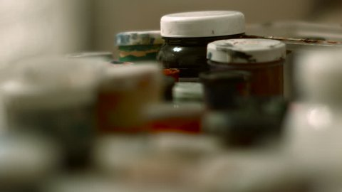 Jars of Paint in the Artist's Studio, There Are a Number Other Tubes of Paint, Blue Paint, Red Paint, Yellow Paint Brush in Paint Cans, Brushes Mixed Paint, Art, Painting, Artist Tools, Transfer