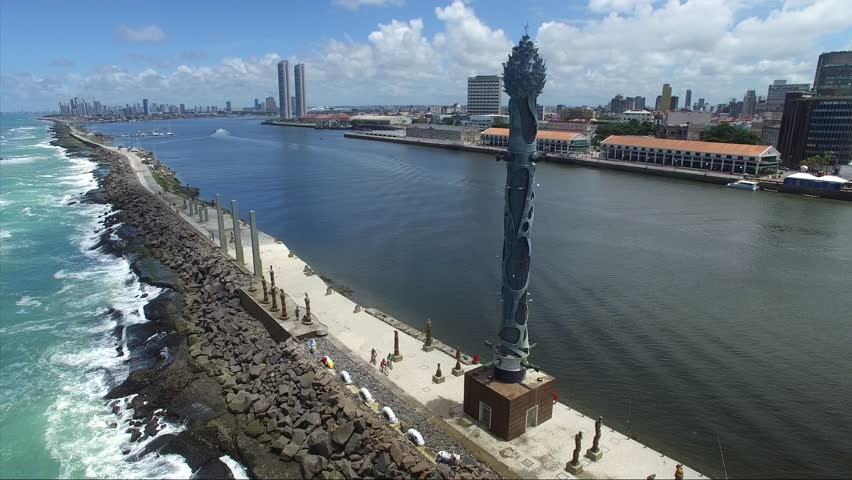 Flying over the Sculpture on Recife Coast, located in Pernambuco State, Brazil