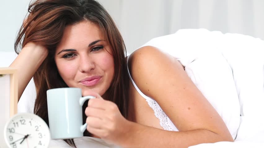 Woman drinks coffee