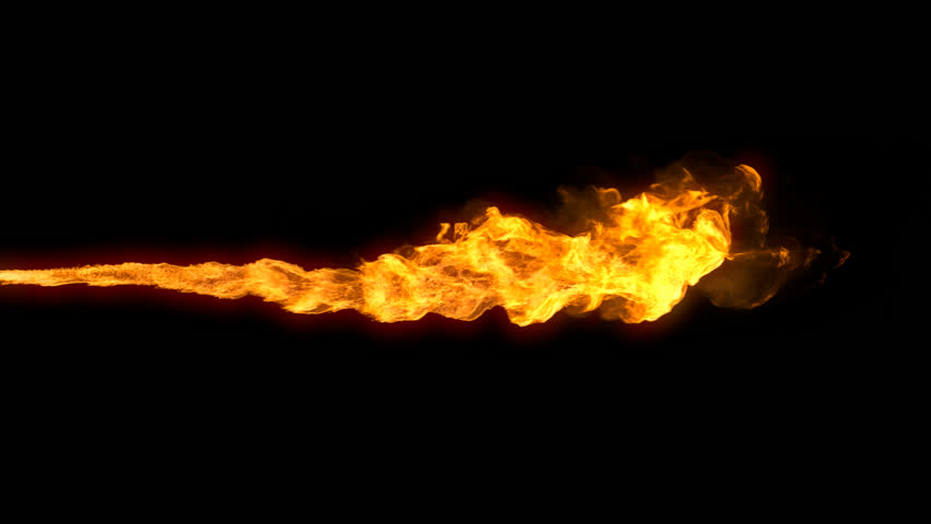 Animated realistic stream of fire like flamethrower shot or fire-breathing dragon's flames. Clip with alpha channel. | Shutterstock HD Video #15611473