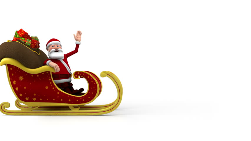 Cartoon Santa Claus riding in his sleigh and waving - high quality 3d animation