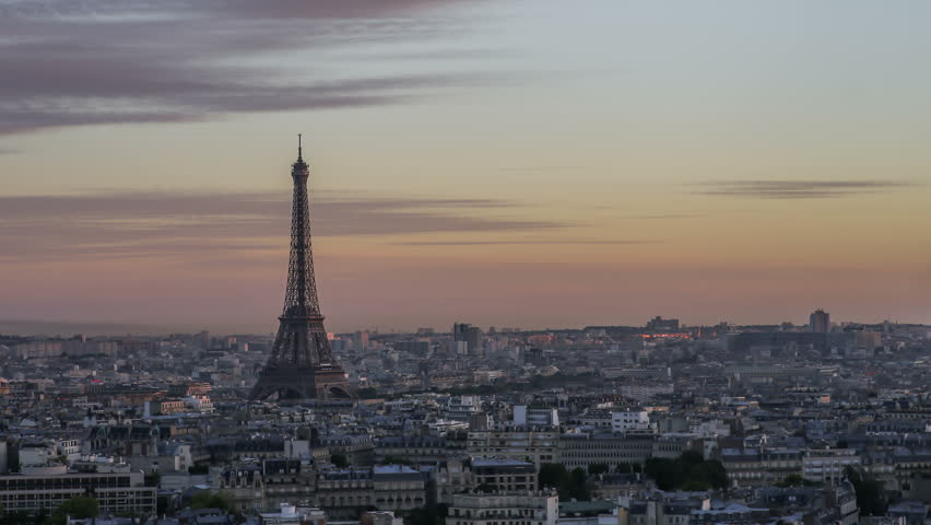 Time Lapse of Paris Skyline with world famous Eiffel Tower in the background - day to night | Shutterstock HD Video #15631768