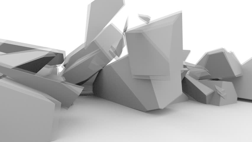 block falls and breaks on impact in a low poly 3d animation
