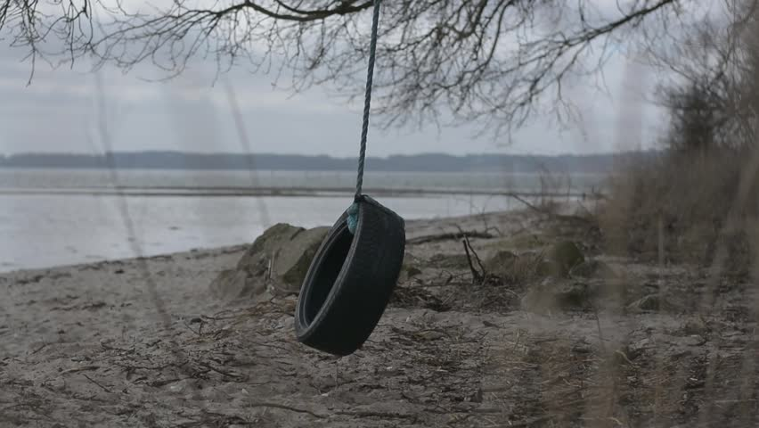Old Swing Made Out Of An Old Car Tire Swinging In The Wind On A ...