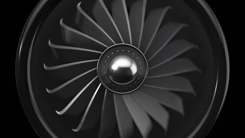 Animation of rotating jet engine with turbine. Animation of seamless loop.