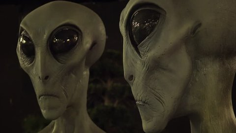 Roswell, new mexico - march 28: aliens on display at the international ufo  museum and research center in roswell, new mexico on march 28th, 2016