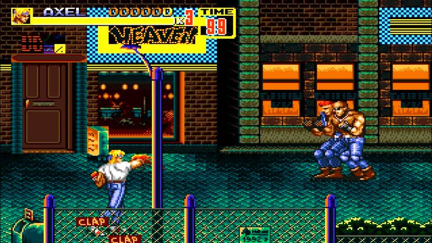 URYUPINSK. RUSSIA - APRIL 7, 2016: Gameplay game console Sega Genesis Bare Knuckle II - street fight brawl violent crime retro console games on April 7 2016 in Urupinsk, Russia