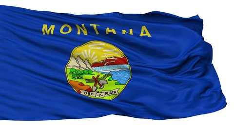 Montana Flag Isolated Realistic Animation Seamless Loop - 10 Seconds Long