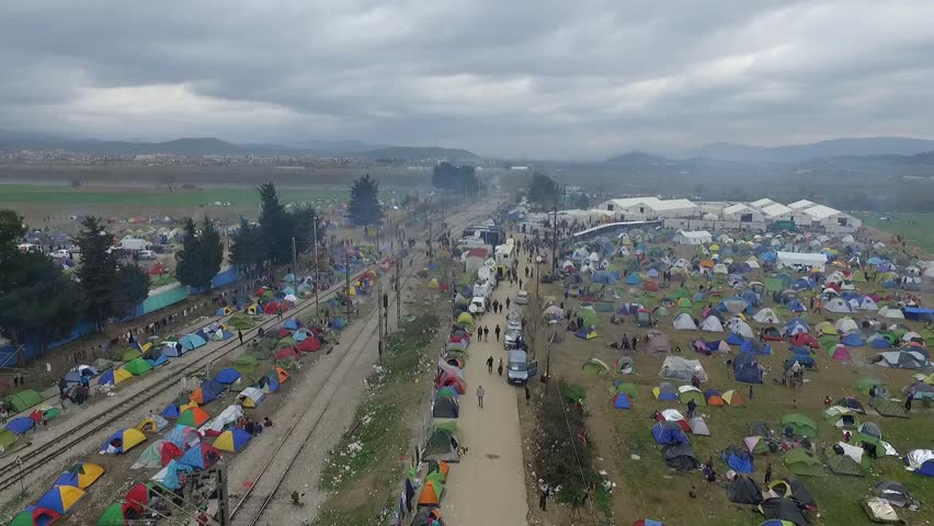 Tents in a transit camp for migrants and refugees are seen from a drone on a foggy morning on the Greek side of the Greek-Macedonian border near Idomeni, Greece, on March 6, 2016.