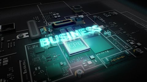 Hologram typo 'BUSINESS' on CPU chip circuit, grow artificial intelligence technology.