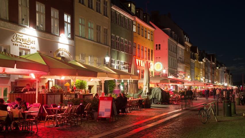 Time Lapse of Scenic Nyhavn District at Night  - Copenhagen Denmark - Circa November 2015   Shutterstock HD Video #15917449