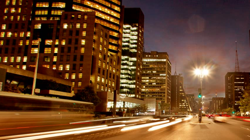 Cars race home during  rush hour after work at Avenida Paulista, Sao Paulo, Brazil, June 29, 2011
