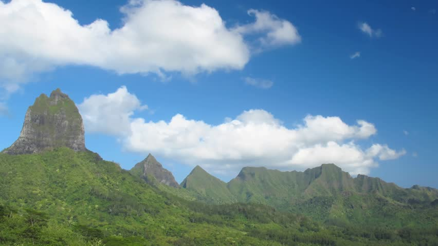 Time Lapse Clouds over Moorea Mountains, French Polynesia