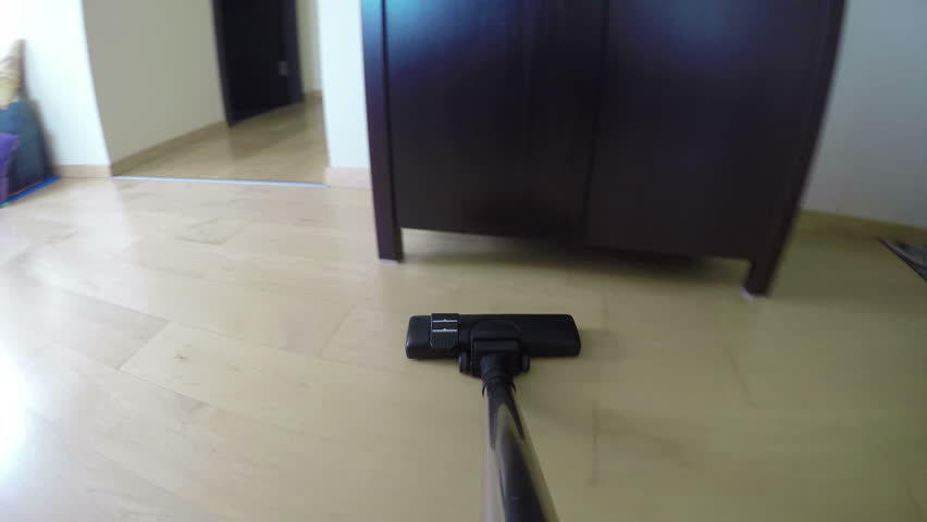 Man Hands With Vacuum Cleaner Tool Hoover Dust On Wooden Floor Under  Cabinet. Household Works