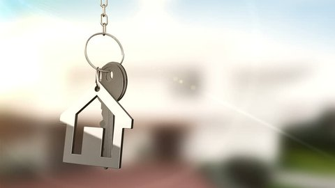 Animation of rotation keys from a new home with trinket like house icon. Animation of seamless loop.